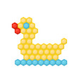duck made of multicolored children s mosaic vector image