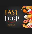 fast food banner cartoon hot dog popcorn and vector image