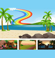 four different nature horizontal scene vector image