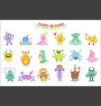 friendly monsters with birthday party attributes vector image vector image