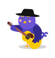 funny cartoon bird character playing guitar blue vector image vector image