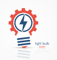 gear light bulb idea icon with electricity sign vector image vector image