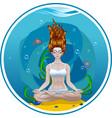 girl yoga classes underwater logo vector image vector image