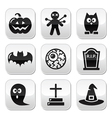 Halloween buttons set - pumpkin witch ghost vector image vector image