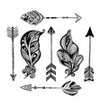 hand-drawn arrows and feathers boho vector image