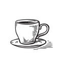 hand drawn sketch black and white cup of tea coffe vector image