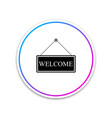 hanging sign with text welcome icon isolated on vector image vector image