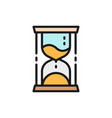 hourglass time management flat color icon vector image vector image