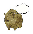 huge bear cartoon with thought bubble vector image vector image