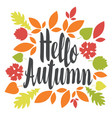 inscription hello autumn in a frame of leaves vector image vector image