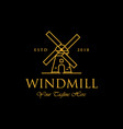 line art windmill logo designs classic and luxury vector image