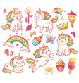 magic unicorn cats in crown sweet cupcakes ice vector image vector image