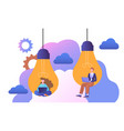 male and female characters are sitting in lighbulb vector image