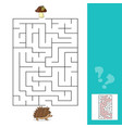 maze game help hedgehog to find a way to mushrooms vector image vector image