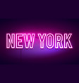 modern new york city neon light sign vector image vector image