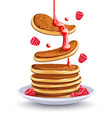 pancakes with raspberries vector image vector image