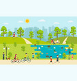 public park with people relaxing in nature vector image vector image