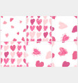 seamless pattern set with hearts valentines day vector image vector image