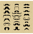 set mustache silhouettes on a retro background vector image vector image