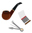 Smoking pipe cleaning tool and matchsticks vector image vector image