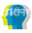 three human heads with binary codes vector image