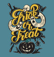 trick or treat quote typographical background vector image