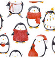 watercolor christmas bapenguin pattern vector image vector image