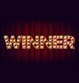 winner banner casino shining lamp vector image