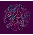 Sketch peace symbols circle shape compostion EPS10 vector image