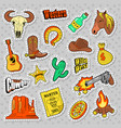 western elements doodle wild west stickers vector image