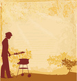 man silhouette cooking on his barbecue Invitation vector image