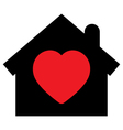Home icon with heart vector image