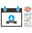 2017 Award Ribbon Calendar Day Flat Icon vector image vector image