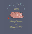 2019 year of the pig hearts stars and apple vector image vector image