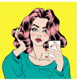Attractive Girl in Pop Art Style is Doing Selfie vector image