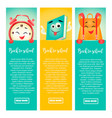 back to school banners with clock book backpack vector image vector image