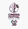 banner for 3d cinema festival with 3d glasses vector image vector image