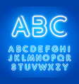 blue neon letters set bright glowing font latin vector image vector image