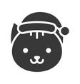 cat wearing santa hat silhouette icon design vector image vector image