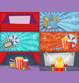 cinema movie banner set horizontal cartoon style vector image vector image
