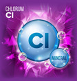 cl chlorum mineral blue pill icon vitamin vector image vector image