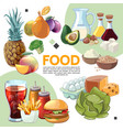 colorful cartoon food composition vector image vector image