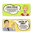 Comics Man And Woman Banner Set vector image