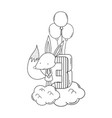 cute and little fox with balloons helium vector image