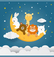 cute animals on moon with stars clouds vector image