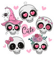 cute cartoon skulls with flowers and hearts vector image vector image