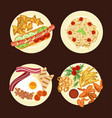 different dishes and salads vector image vector image