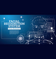 facial recognition system concept with neon lines vector image vector image