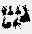 Female flamenco dancer silhouettes vector image vector image