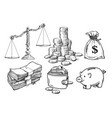 finance money set scales stack coins sack of vector image vector image